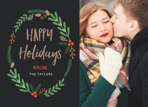 Mistletoe Wreath Photo Holiday Card