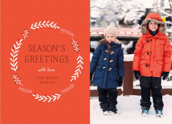Red Wreath Photo Season's Greetings Card