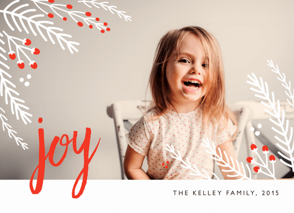 Winter Floral Joy Holiday Card