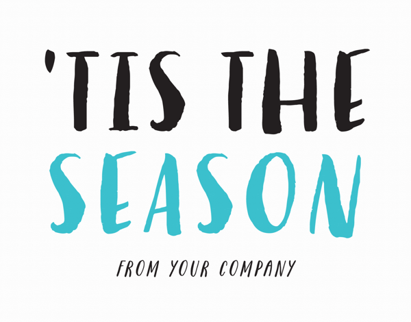 hand lettered tis the season company holiday greeting