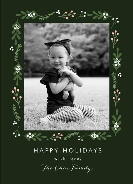dark green folk floral holiday photo card