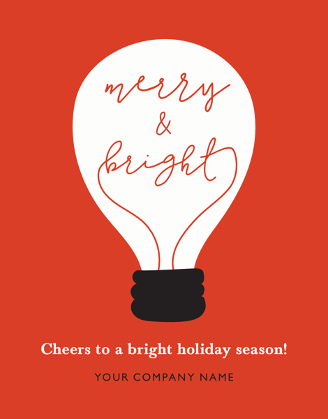 red merry and bright corporate holiday card