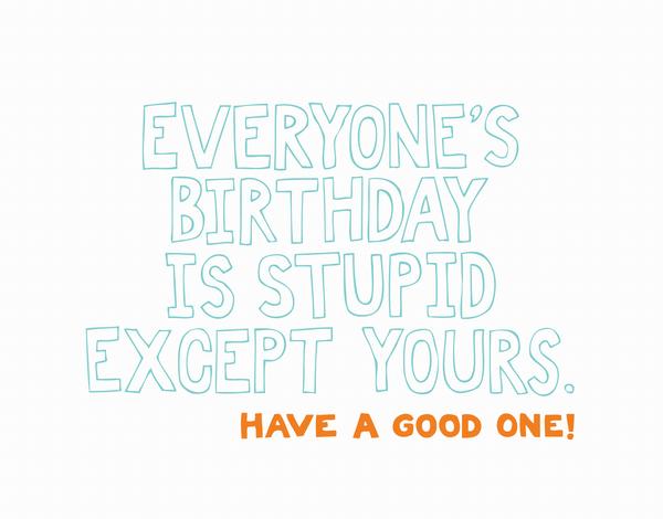 Sarcastic Stupid Birthday Card