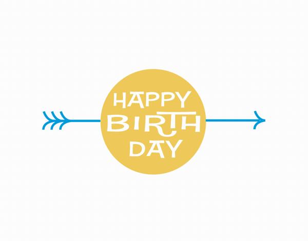 Retro Birthday Card with Arrow