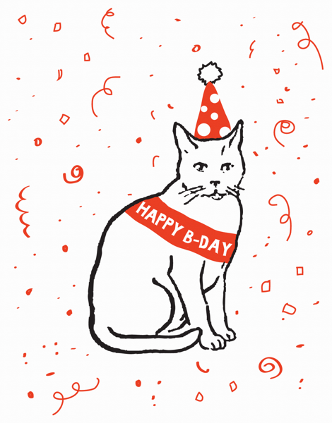 Party Cat Birthday Card