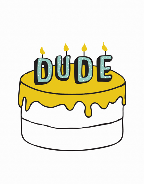 Dude Cake Birthday Card