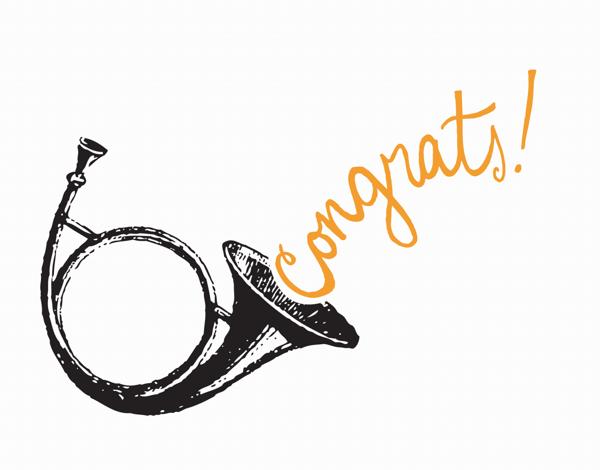 Cursive Horn Congrats Card
