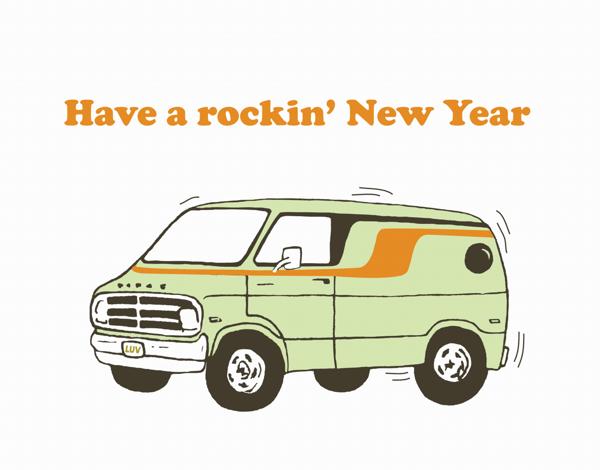 Minivan Rockin' New Years Card