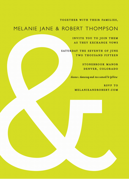 Green Ampersand Wedding Invite