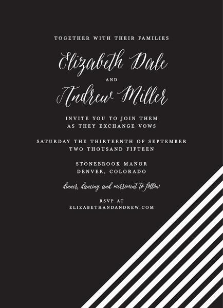 Black White Lines Wedding Invite