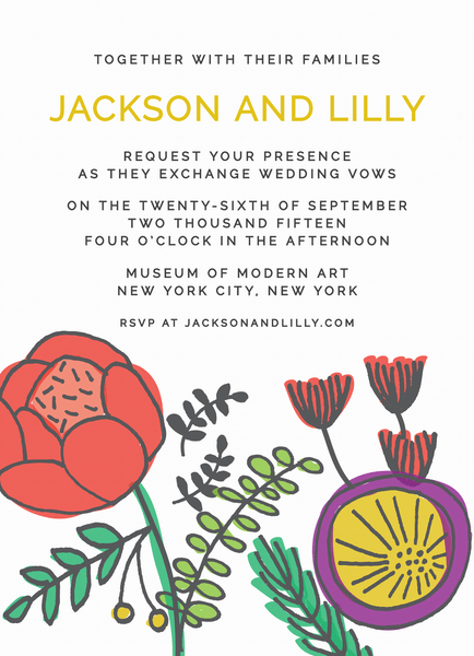 Abstract Floral Wedding Invitation