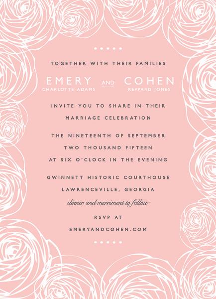 Pink Rununculus Wedding Invitation