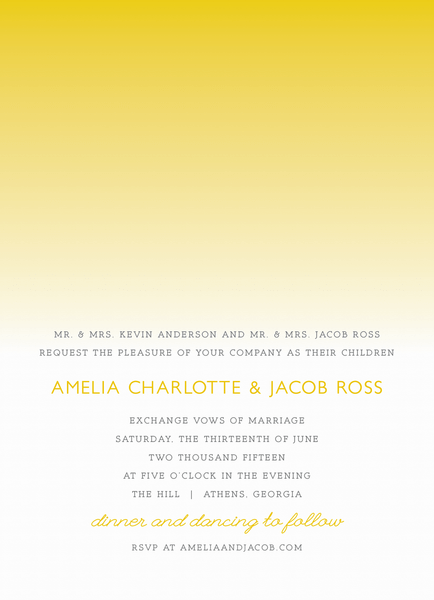 Yellow Ombre Wedding Invite