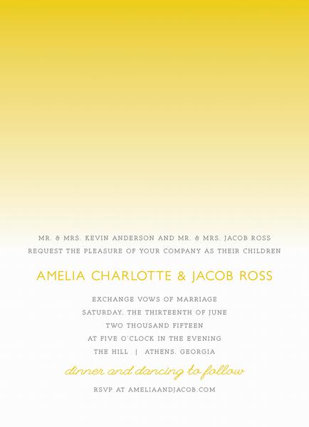Yellow Ombre Wedding Invite