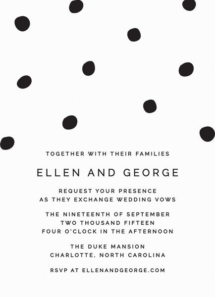 Black Dots Wedding Invitation