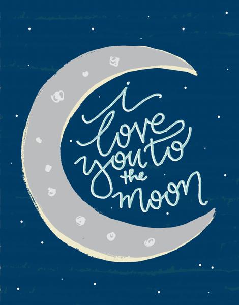 Minimal blue moon love card