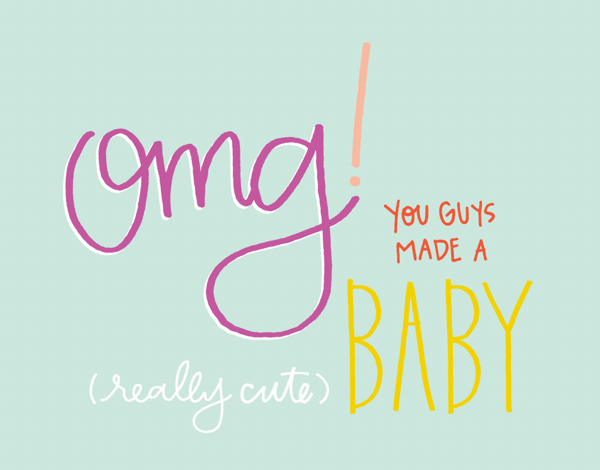 Cute handwritten OMG Baby Congratulations Card