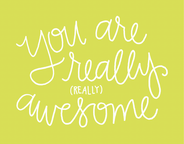 Girly You are Awesome Thank You card
