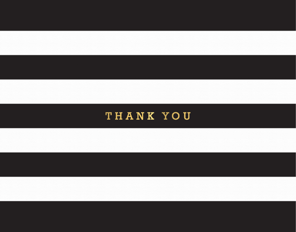 Traditional Gold Stripe Thank you greeting card