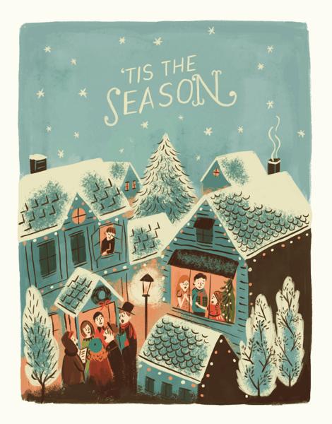 vintage village christmas card