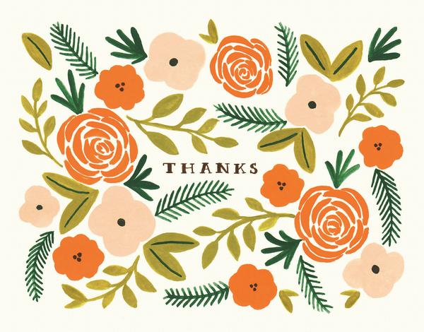 Orange Blossom Thank You Card