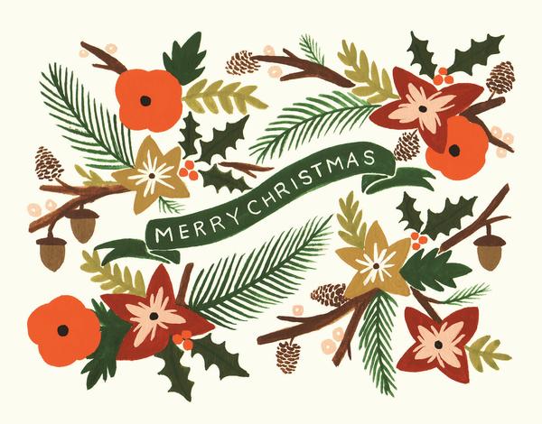 Painted Garland Holiday Card