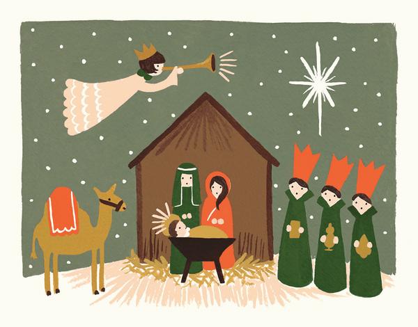 painted Nativity scene Christmas Card