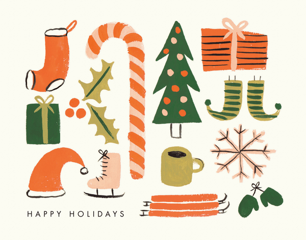 painted holiday items on a holiday greeting card