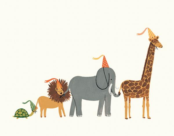 Animal Parade Greeting Card