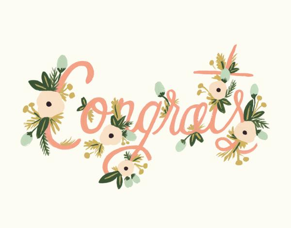 Pink Cursive Floral Congratulations Card