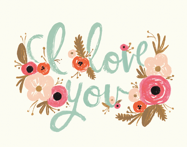 I Love You Card with Decorative Florals