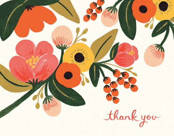 Hand Painted Garden Thank You Card