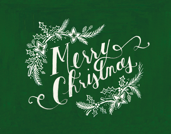 Green Pine Christmas Card