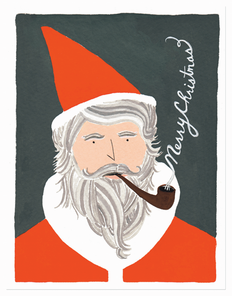 Hand Painted St Nick Merry Christmas Card
