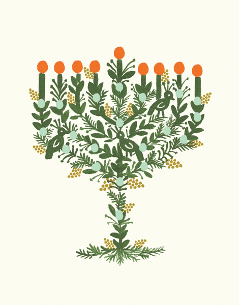 Illustrated Menorah Hanukkah Card