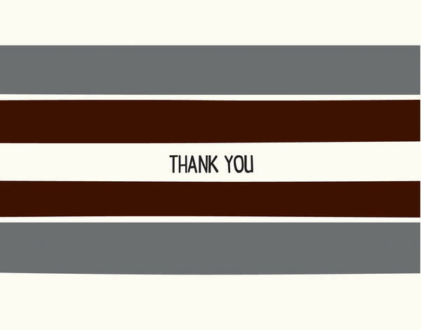 Graphic Grey Stripes Thank You Card