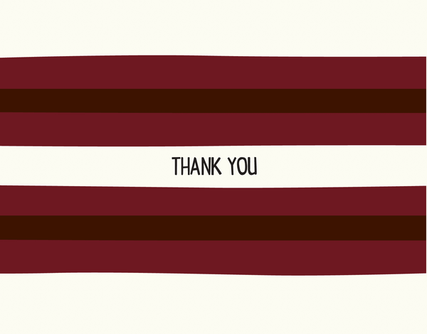 Bold Burgundy Striped Thank You Note