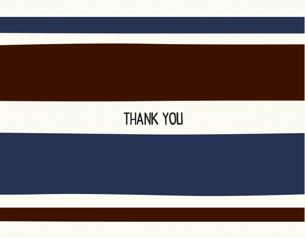 Masculine Blue Striped Thank You Note