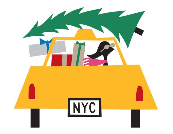 Christmas Tree Taxi Holiday Card