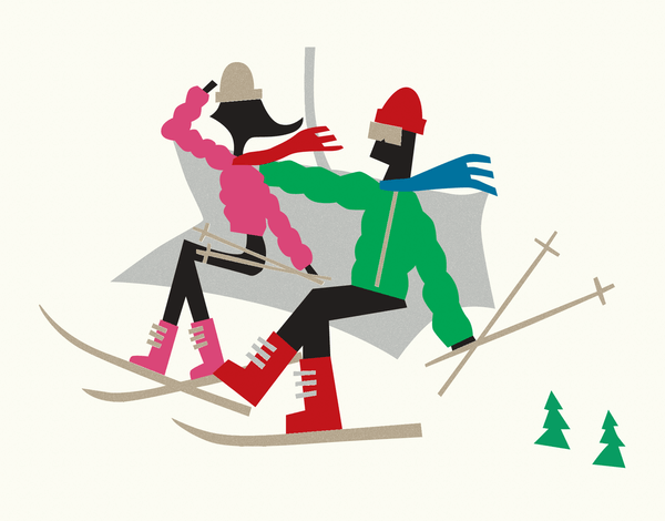 Couple on Ski Lift Stationery