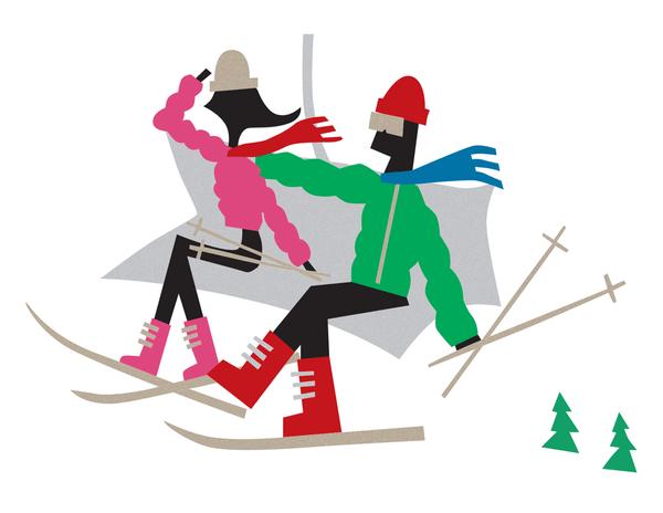 Couple on Ski Lift Stationery