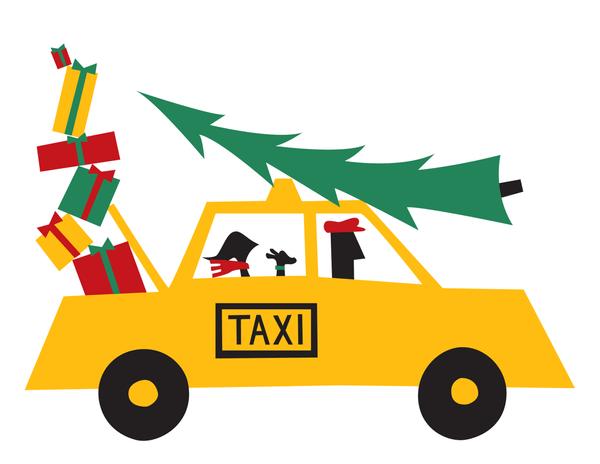 Shopping Taxi Holiday Card