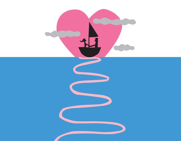 Sailboat Heart Valentine's Card