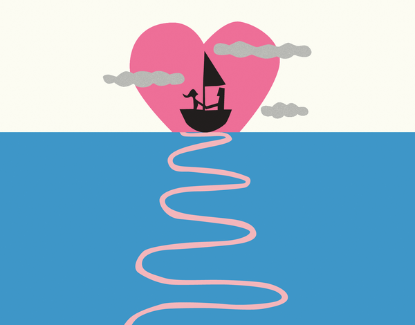 Sailboat Heart Valentine's Card