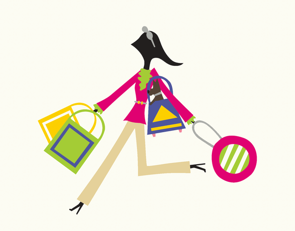 Colorful Shopping Girl Stationery
