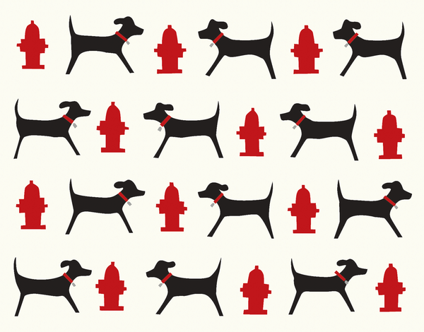 Dog and Hydrant Patterned Stationery