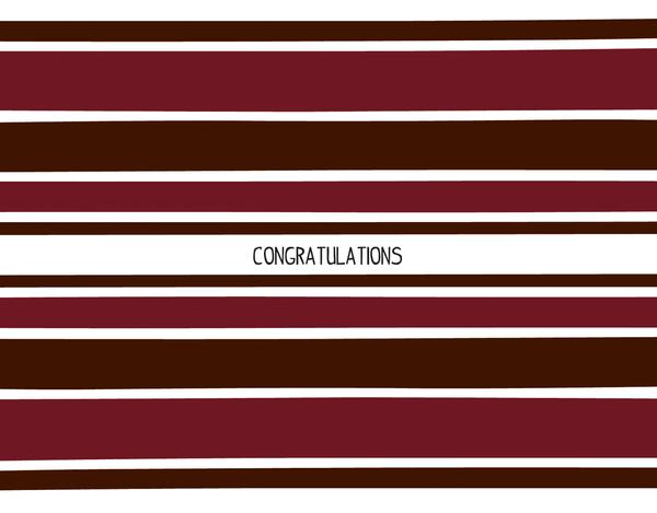 Burgandy Striped Congratulations Note
