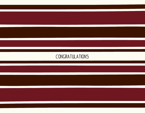 Burgandy Striped Congratulations Note