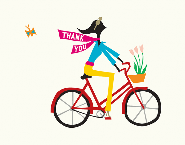 Girl on Bicycle Thank You Card
