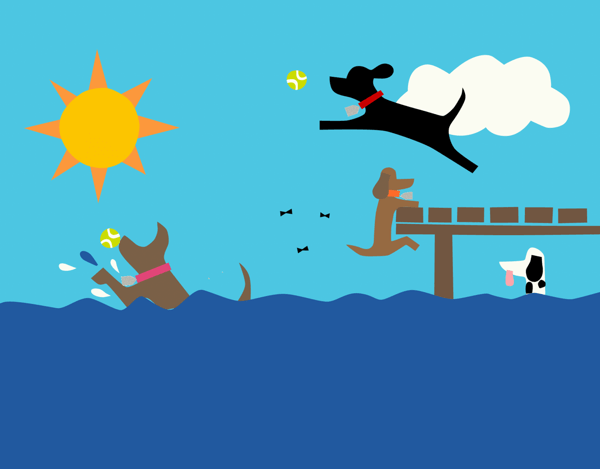 Dogs In The Lake